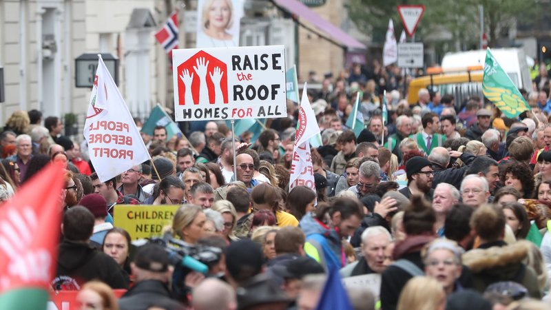 Thousands participated in protests against the housing crisis in Ireland. (Photo: Raidió Teilifís Éireann)