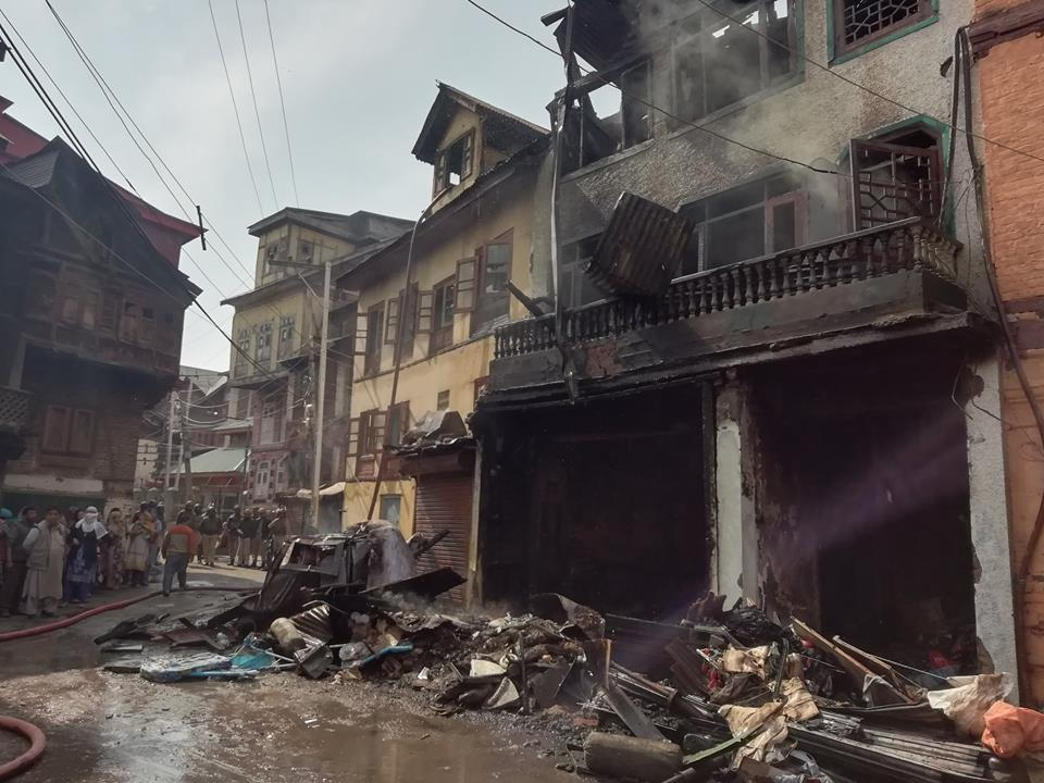 Srinagar house on fire