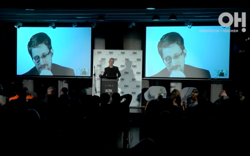 Edward Snowden addressing the Israeli conference