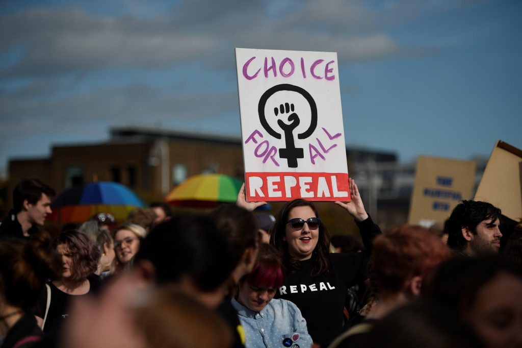 Demonstrators hold posters as they march for more liberal Irish abortion laws, in Dublin, Ireland September 30, 2017. (Photo: Clodagh Kilcoyne)