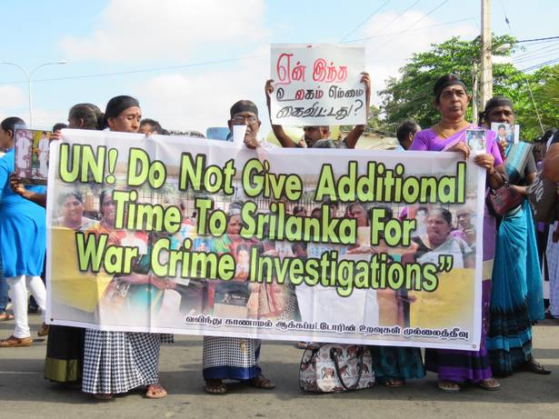 Protest in Sri Lanka urging the UN not to give more time to the Sri Lankan government for war crimes investigations
