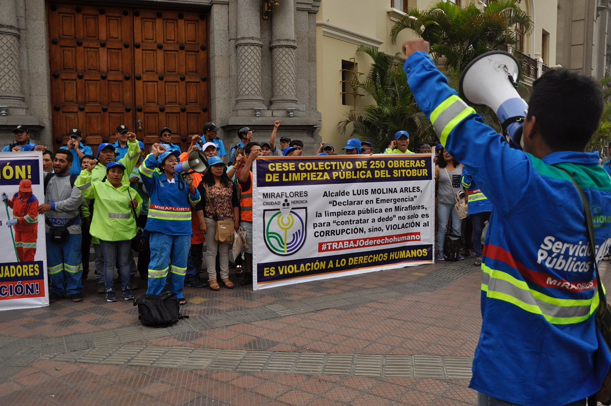 Public cleanliness workers' protest in Miraflores, Peru