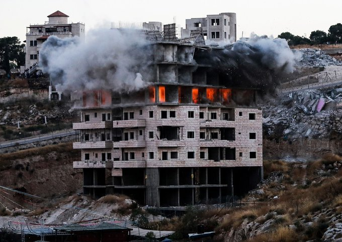 Israeli soldiers also used explosive to demolish one of the buildings.
