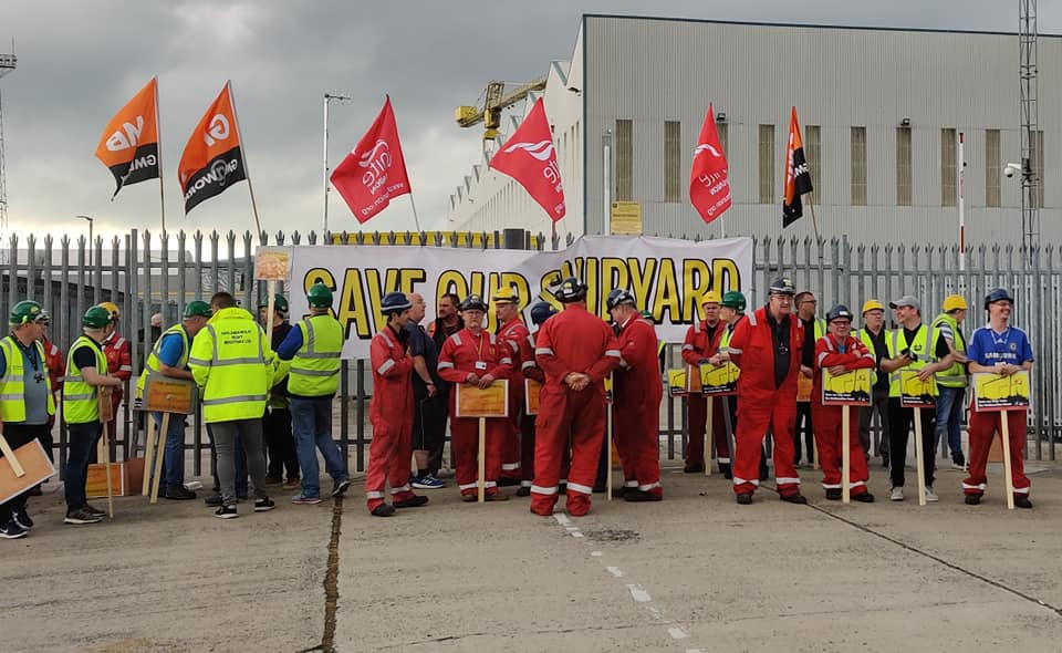 Shipyard workers protest-Northern Ireland
