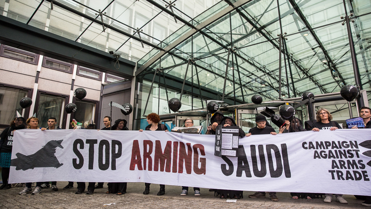 Human rights campaigners protest arms sales to Saudi Arabia outside the Defence and Security Organisation (DSO), the Government department responsible for arms export promotions in the UK.