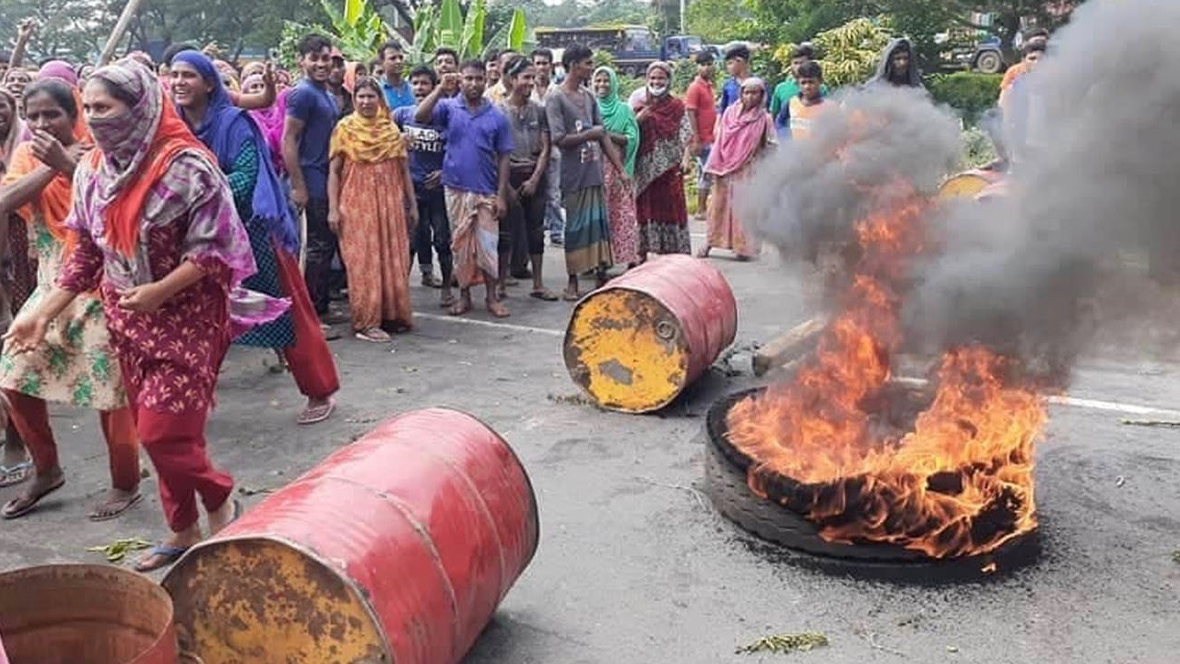 Bangladesh jute mill workers protest