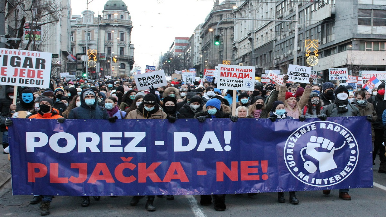 Serbia internet workers protest