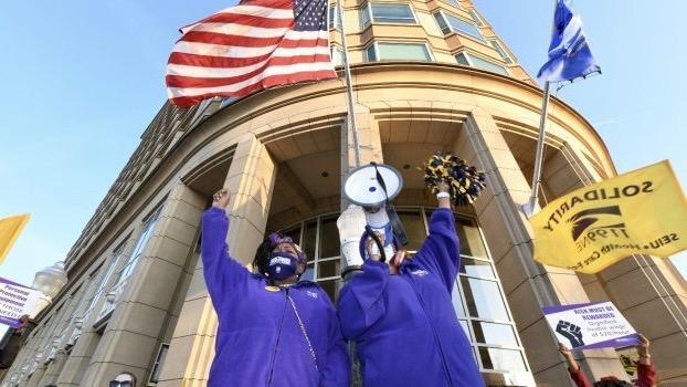 US nursing home workers strike